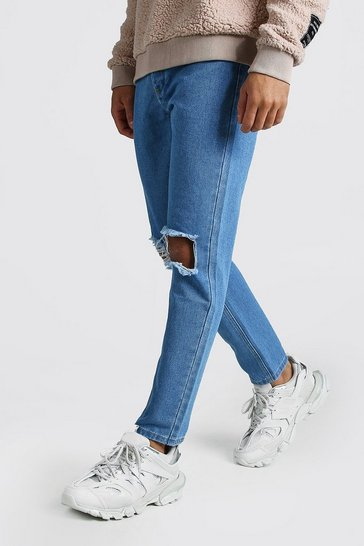 Light blue Slim Rigid Jeans With Busted Knees
