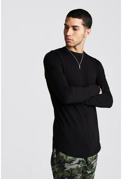 Mens Black Long Sleeve Curved Hem T-Shirt