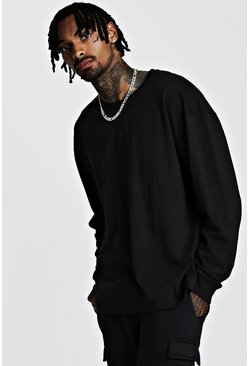 Mens Black Oversized Long Sleeve T-Shirt