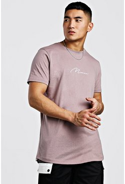 T-shirt long à ourlet arrondi signature MAN, Écorce, Homme