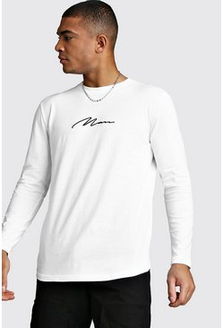 Mens White Long Sleeve MAN Signature Curved Hem T-Shirt