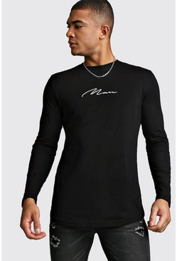 Black Long Sleeve MAN Signature Curved Hem T-Shirt