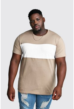Taupe Big And Tall Longline Colour Block T-Shirt