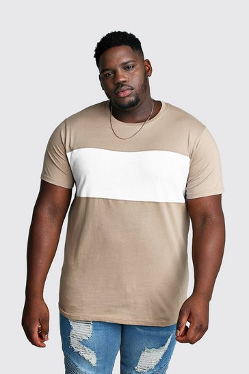 Mens Taupe Big And Tall Longline Colour Block T-Shirt