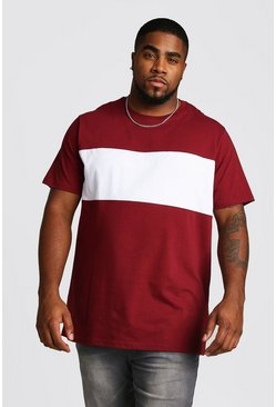 Wine Big And Tall Longline Colour Block T-Shirt