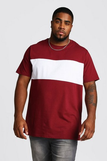 Mens Wine Big And Tall Longline Colour Block T-Shirt