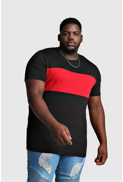 Mens Black Big And Tall Longline Colour Block T-Shirt