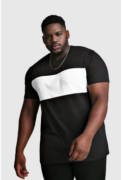 Big And Tall Longline Colour Block T-Shirt, Black