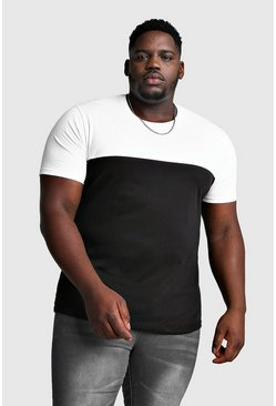 Big And Tall Colour Block T-Shirt, White