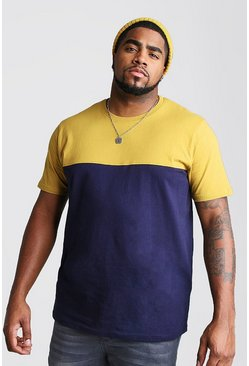 Mens Mustard Big And Tall Colour Block T-Shirt