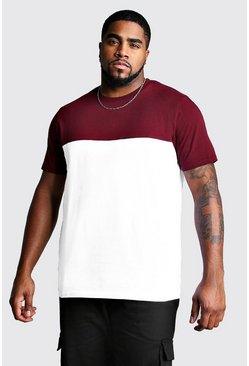 Big And Tall Colour Block T-Shirt, Wine, HOMBRE