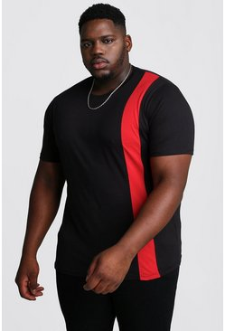 Red Big And Tall T-Shirt With Vertical Colour Block