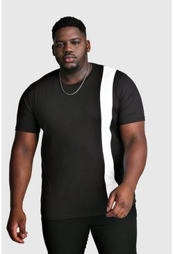 White Big And Tall T-Shirt With Vertical Colour Block