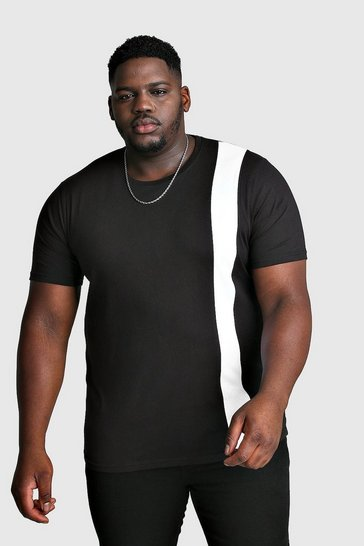 Mens White Big And Tall T-Shirt With Vertical Colour Block