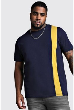 Mens Mustard Big And Tall T-Shirt With Vertical Colour Block