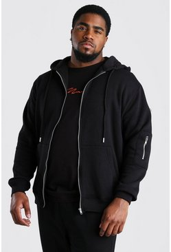 Black Big And Tall MA1 Zip Through Hoodie