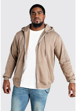Taupe Big And Tall MA1 Zip Through Hoodie