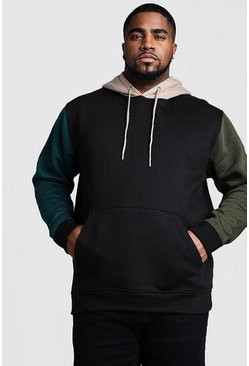 Big And Tall Colour Block Over The Head Hoodie, Black
