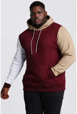 Herr Wine Big And Tall Colour Block Over The Head Hoodie