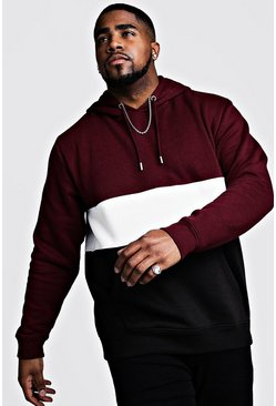 Mens Wine Big And Tall Colour Block Over The Head Hoodie