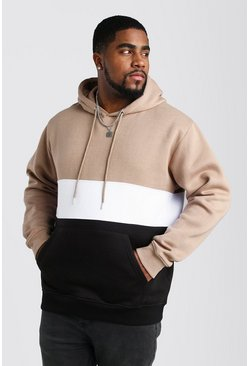 Taupe Big And Tall Colour Block Over The Head Hoodie