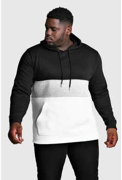 Mens Black Big and Tall Colour Block Over The Head Hoodie