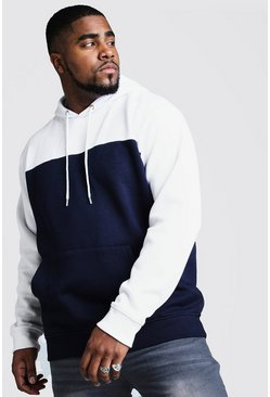 Herr Navy Big And Tall Colour Block Hoodie