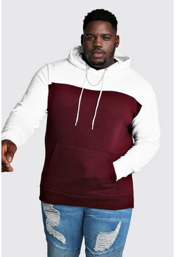 Big & Tall Colour Block Hoodie, Wine, HERREN