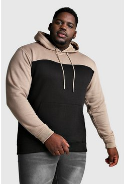 Mens Black Big And Tall Colour Block Hoodie w/ Taupe