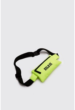 Man Print Crossbody Bag, Neon-green