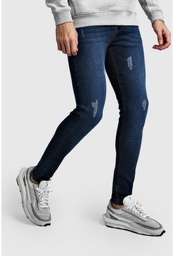 Super Skinny Jeans With Abraisions, Washed indigo