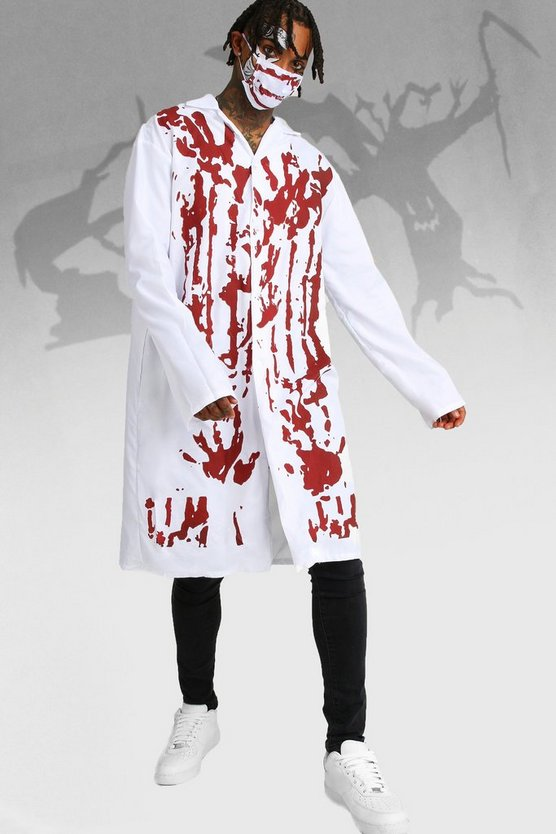 White Halloween Blood Covered Doctor Costume