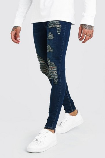 Indigo Super Skinny Jeans With All Over Rips