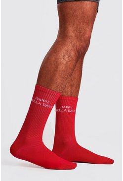 Mens Red Christmas Text Sock