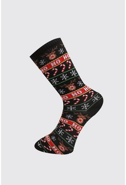 Mens Black Christmas Print Sock