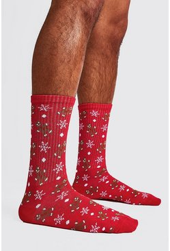 Mens Red Gingerbread Christmas Print Sock