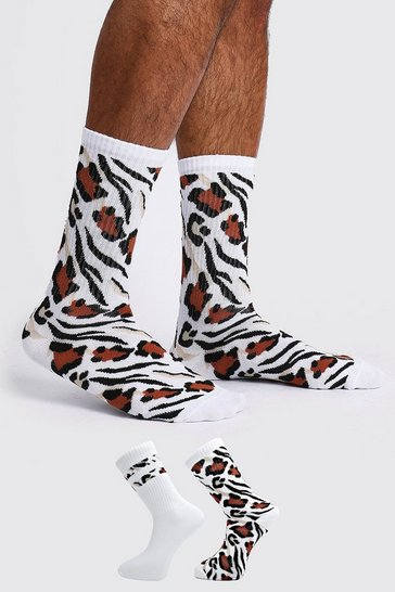White 2 Pack Animal Print Sock