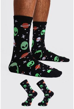 Mens Black 2 Pack Space Print Sock