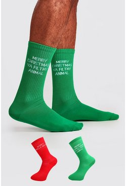Mens Multi 2 Pack Christmas Text Sock