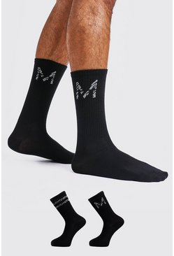 Mens Black 2 Pack M Zebra Detail Sock