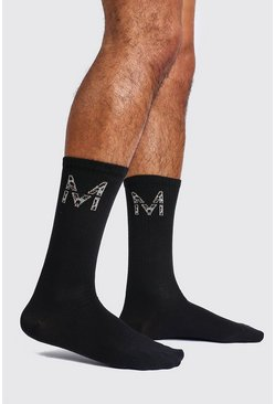 Mens Black 2 Pack M Leopard Detail Sock