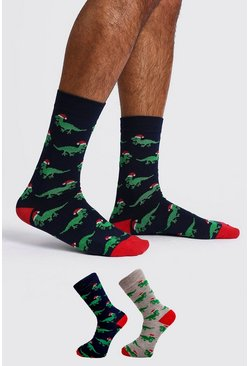 Mens Multi 2 Pack Christmas Dinosaur Socks