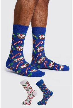 2 Pack Christmas Patterned Socks, Multi, HOMBRE