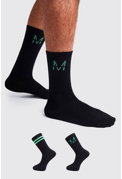 Black 2 Pack M Green Metallic Sock