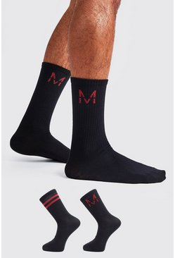 Mens Black 2 Pack M Red Metallic Sock