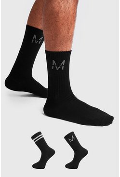 Mens Black 2 Pack M Silver Metallic Sock