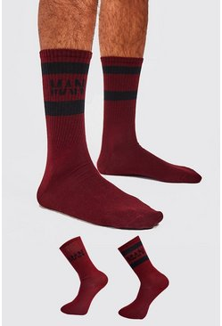 Mens Burgundy 2 Pack MAN Dash Sport Stripe Sock