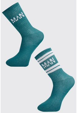 Mens Teal 2 Pack MAN Dash Sport Stripe Sock