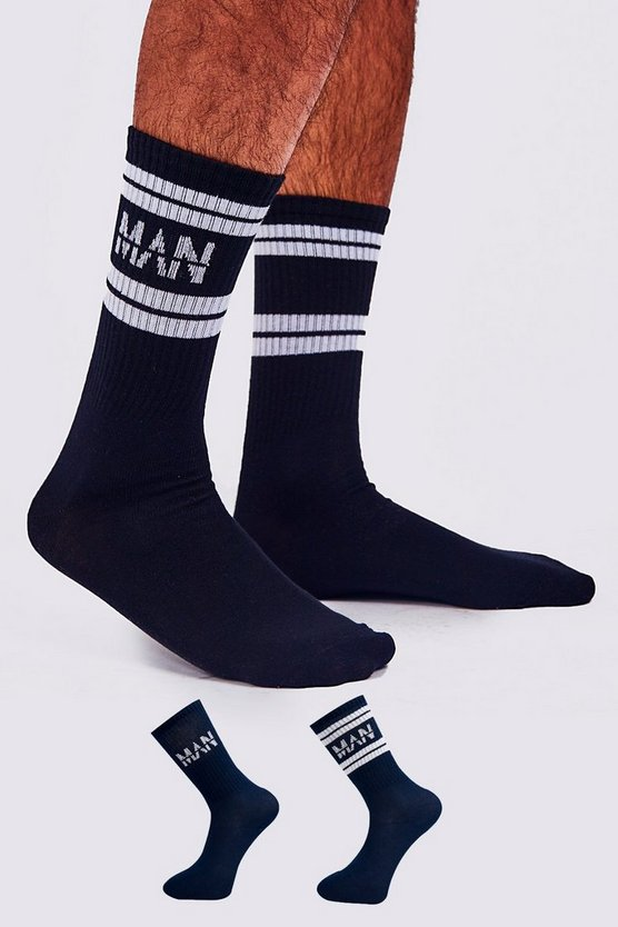 Navy 2 Pack MAN Dash Sport Stripe Sock