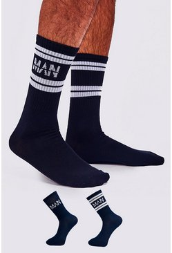 Mens Navy 2 Pack MAN Dash Sport Stripe Sock